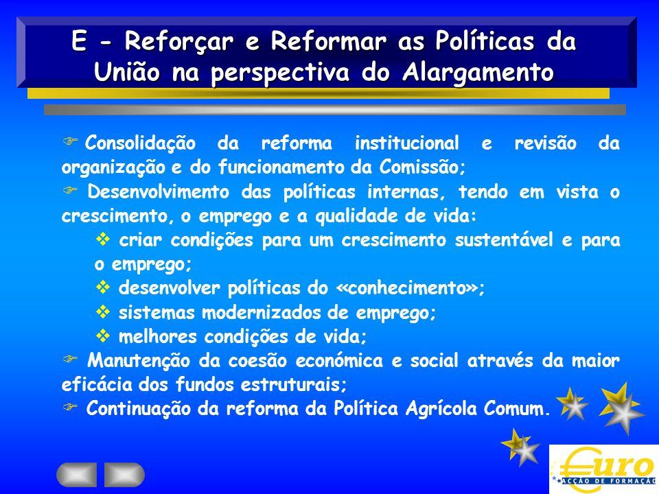F Consolidação da reforma institucional e revisão da organização e do funcionamento da Comissão; F Desenvolvimento das políticas internas, tendo em vi