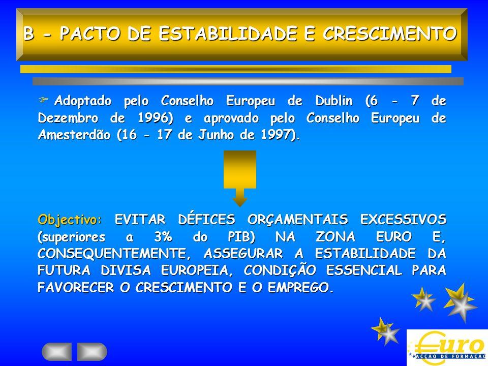 B - PACTO DE ESTABILIDADE E CRESCIMENTO Adoptado pelo Conselho Europeu de Dublin (6 - 7 de Dezembro de 1996) e aprovado pelo Conselho Europeu de Amest