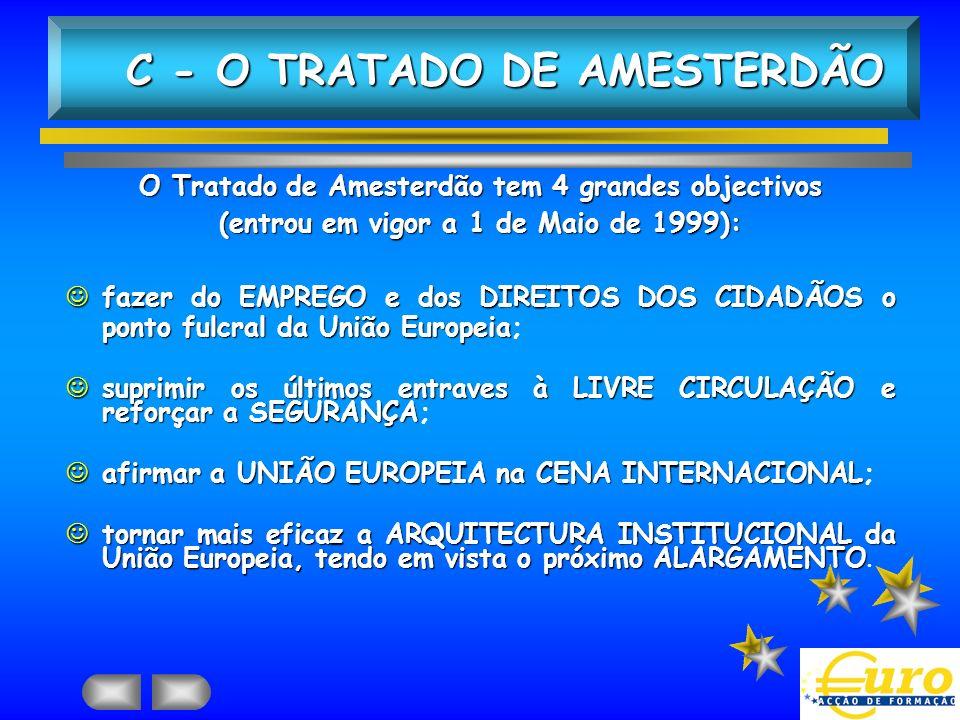 O Tratado de Amesterdão tem 4 grandes objectivos (entrou em vigor a 1 de Maio de 1999): Jfazer do EMPREGO e dos DIREITOS DOS CIDADÃOS o ponto fulcral