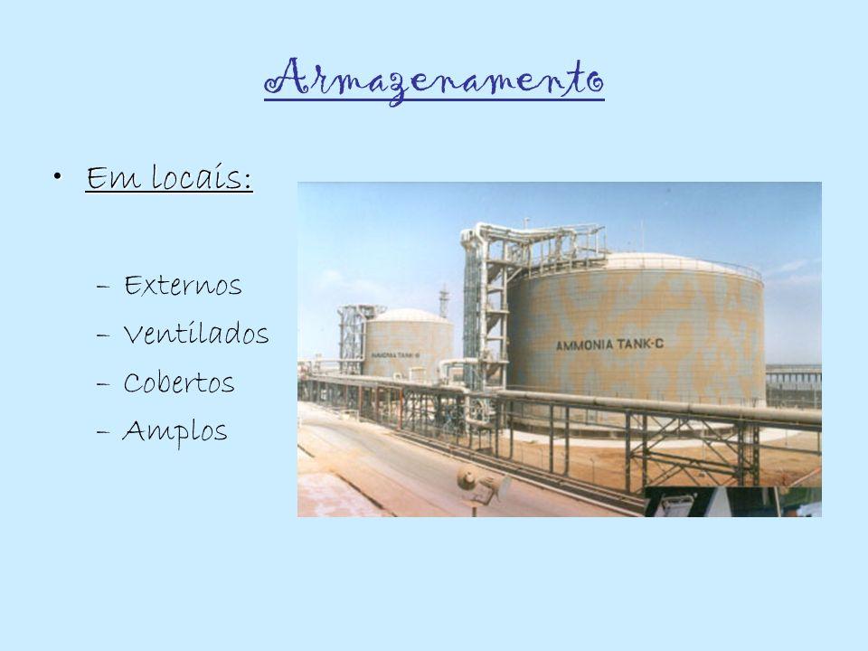 Métodos de armazenamento da Amónia Armazenamento refrigerado em tanques grandes; Esferas ou cilindros com capacidade até 1.700 toneladas; Tanques semi-refrigerados