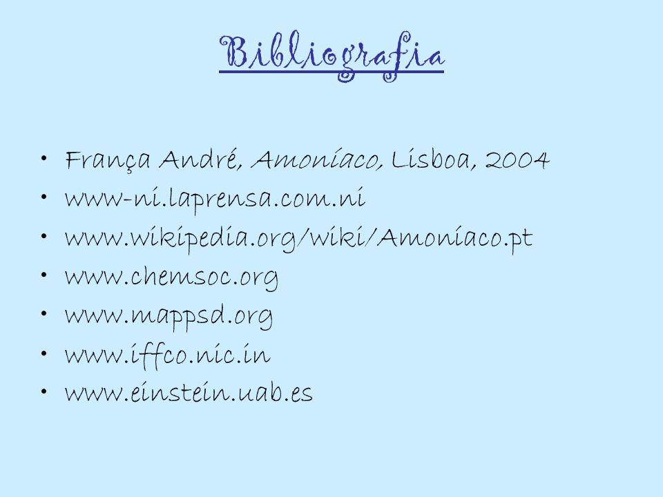 Bibliografia França André, Amoníaco, Lisboa, 2004 www-ni.laprensa.com.ni www.wikipedia.org/wiki/Amoníaco.pt www.chemsoc.org www.mappsd.org www.iffco.n