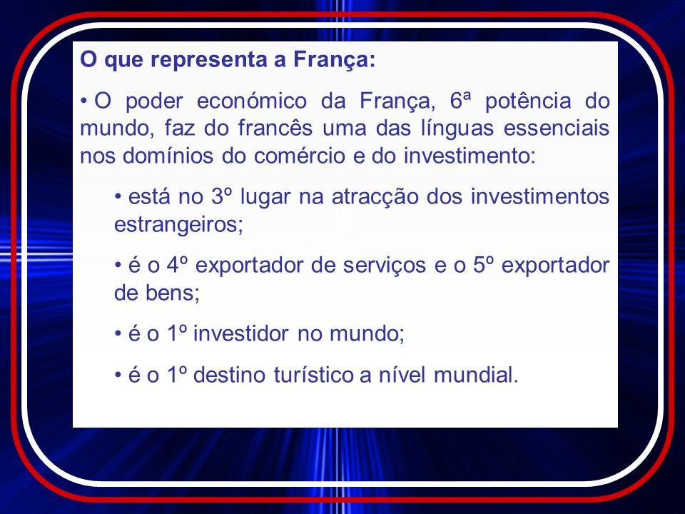 O que representa a França (cont.) : É o 2º investidor estrangeiro em Portugal sendo alguns sectores de investimento: o automóvel: Renault, PSA,…; a distribuição: Carrefour, Auchan, Euromarché, Leclerc, Conforama, FNAC, AKI, Décathlon, Leroy-Merlin,…; a farmácia: Servier, Sanofi; a indústria: Air liquide, Alstom, Saint Gobain; a agroalimentar: Danone, Lusograin, Bel,…; a comunicação: J.-C.