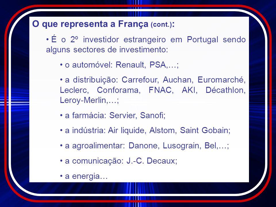 O que representa a França (cont.) : No sector financeiro: dos 25 principais bancos portugueses, 5 são de origem francesa; 4 Companhias de seguros francesas ou com participação francesa figuram entre as 22 principais a nível nacional, como por exemplo, BNP, Groupama, AXA…