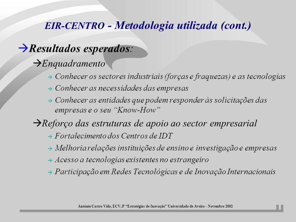 EIR-CENTRO - Metodologia utilizada (cont.) àResultados esperados: àEnquadramento à Conhecer os sectores industriais (forças e fraquezas) e as tecnolog