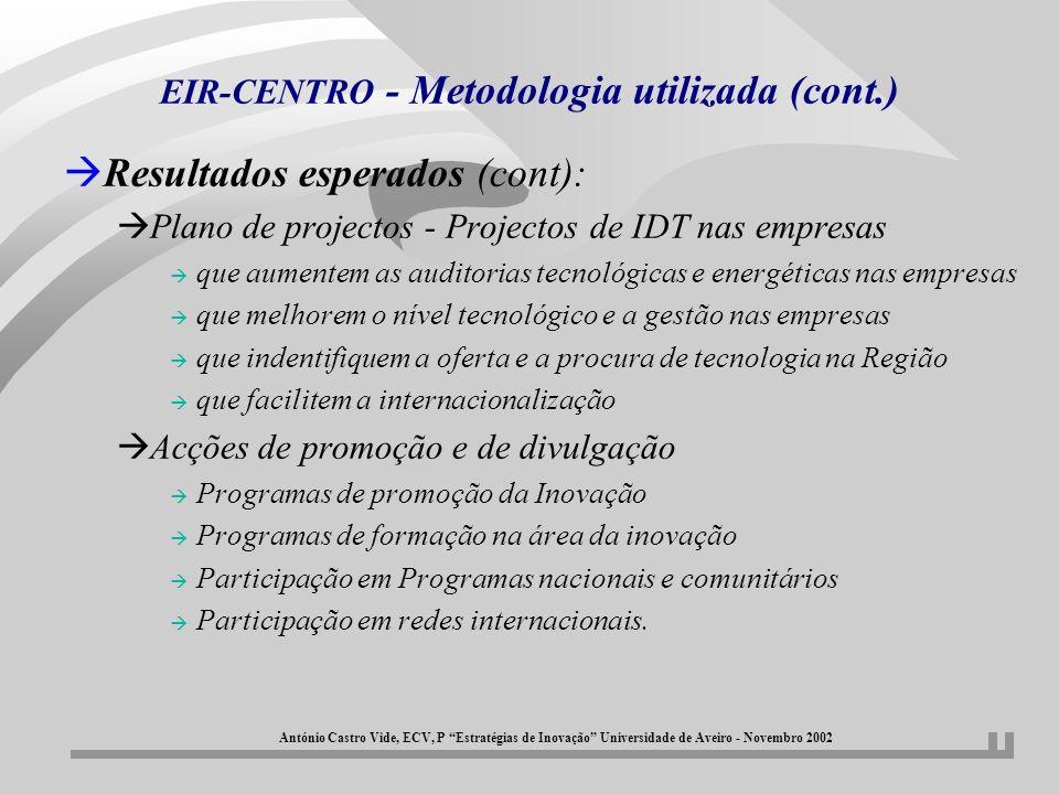 EIR-CENTRO - Metodologia utilizada (cont.) àResultados esperados (cont): àPlano de projectos - Projectos de IDT nas empresas à que aumentem as auditor