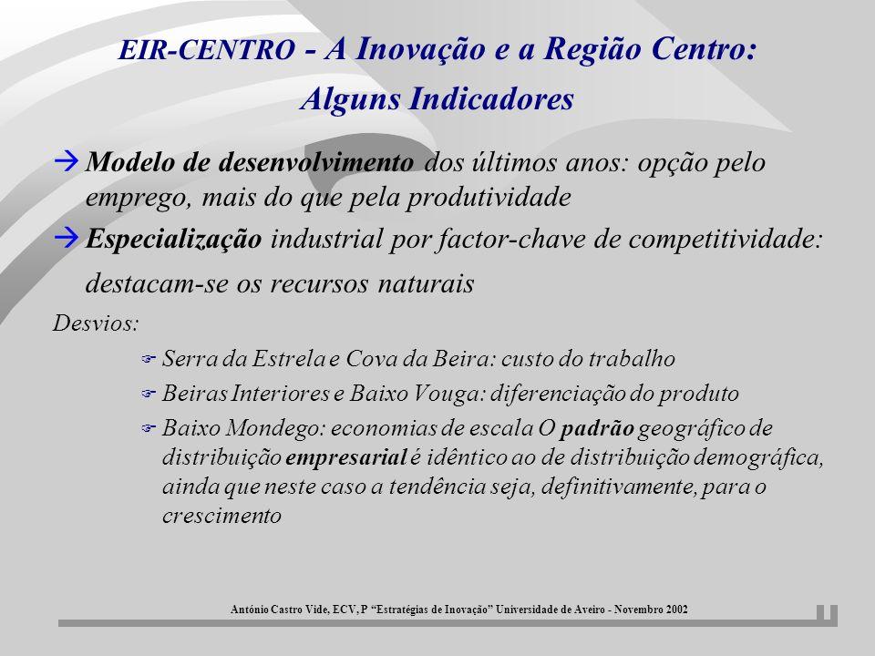 EIR-CENTRO - A Inovação e a Região Centro: Alguns Indicadores àModelo de desenvolvimento dos últimos anos: opção pelo emprego, mais do que pela produt