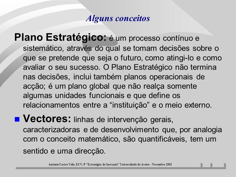 Alguns conceitos n Objectivos Estratégicos: são linhas de desenvolvimento através das quais se pretende que instituição caminhe para se ir aproximando, cada vez mais, da Missão que assumiu.