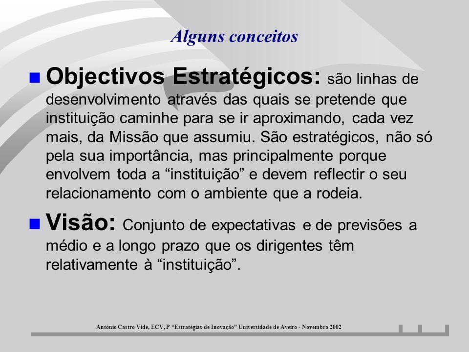 Alguns conceitos n Objectivos Estratégicos: são linhas de desenvolvimento através das quais se pretende que instituição caminhe para se ir aproximando