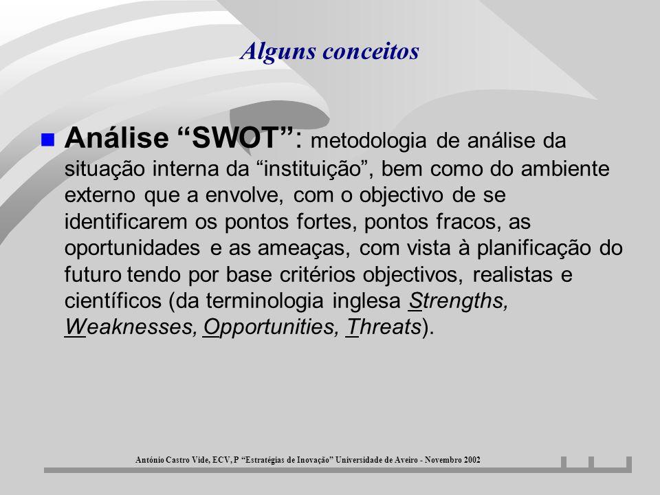 Alguns conceitos n Análise SWOT: metodologia de análise da situação interna da instituição, bem como do ambiente externo que a envolve, com o objectiv
