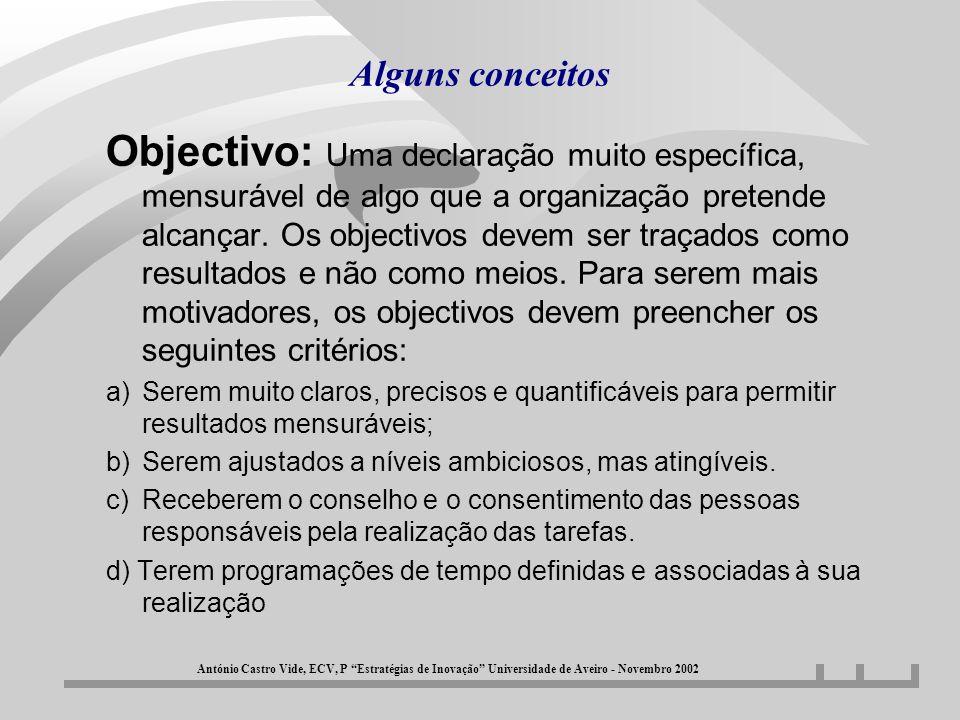 Alguns conceitos Objectivo: Uma declaração muito específica, mensurável de algo que a organização pretende alcançar. Os objectivos devem ser traçados