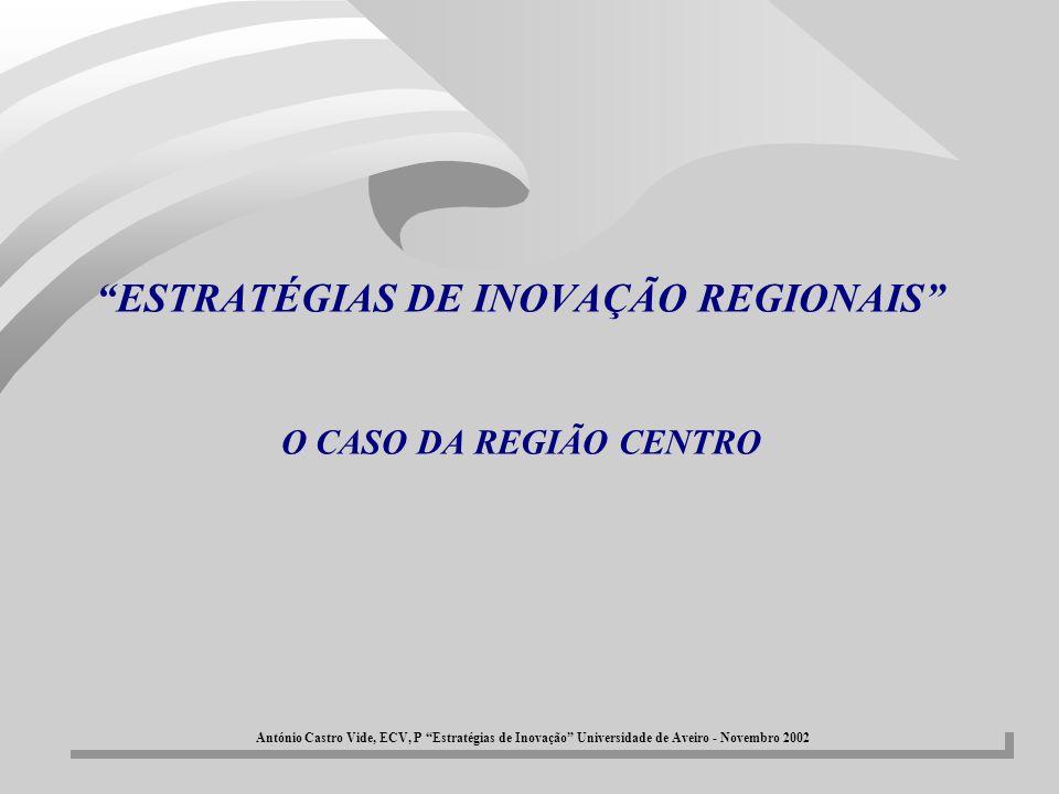 EIR-CENTRO - Proposta de Acções/Vectores estratégicos àACÇÃO 1: VALORIZAÇÃO DOS RESÍDUOS INDUSTRIAIS BANAIS E PRESERVAÇÃO DO AMBIENTE àACÇÃO 2: VALORIZAÇÃO E GESTÃO DOS RECURSOS FLORESTAIS àACÇÃO 3: SISTEMA DE INOVAÇÃO CENTRADO NA SAÚDE àACÇÃO 4: DESENVOLVIMENTO DE NOVOS MATERIAIS E NOVAS APLICAÇÕES àACÇÃO 5: TECNOLOGIAS DE INFORMAÇÃO E COMUNICAÇÃO àACÇÃO 6: MOBILIZAR A REGIÃO PARA A INOVAÇÃO (ELABORAÇÃO DO PLANO ESTRATÉGICO DE INOVAÇÃO PARA A REGIÃO CENTRO DE PORTUGAL, PARTICIPAÇÃO EM REDES DE INOVAÇÃO, BOLSA DE INOVAÇÃO, ENTRE OUTRAS ACTIVIDADES) António Castro Vide, ECV, P Estratégias de Inovação Universidade de Aveiro - Novembro 2002
