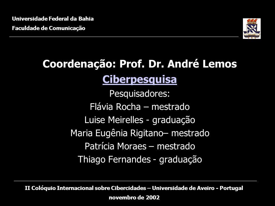 Coordenação: Prof. Dr. André Lemos Ciberpesquisa Pesquisadores: Flávia Rocha – mestrado Luise Meirelles - graduação Maria Eugênia Rigitano– mestrado P