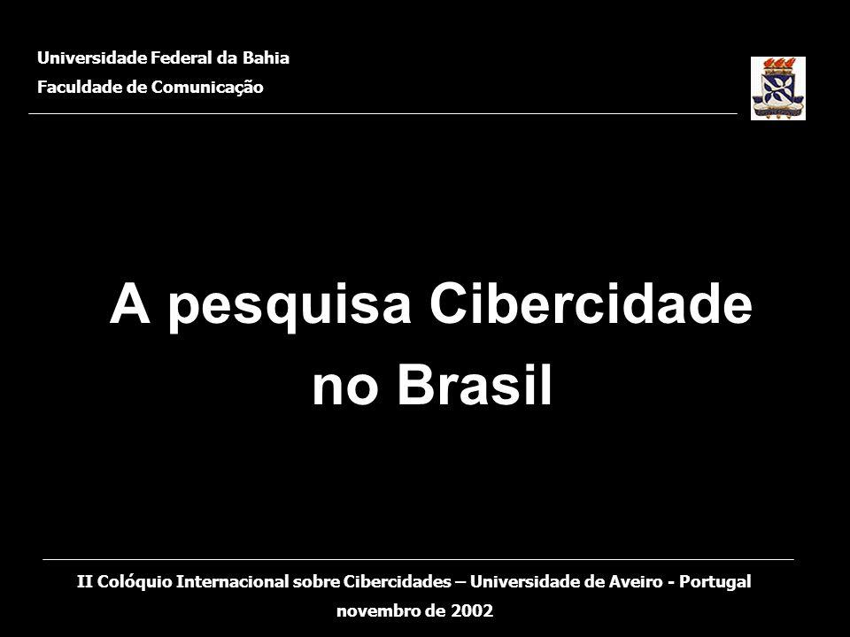 A pesquisa Cibercidade no Brasil Universidade Federal da Bahia Faculdade de Comunicação II Colóquio Internacional sobre Cibercidades – Universidade de