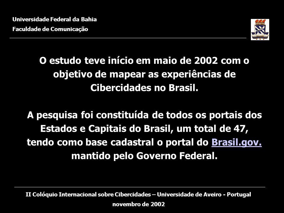 O estudo teve início em maio de 2002 com o objetivo de mapear as experiências de Cibercidades no Brasil. A pesquisa foi constituída de todos os portai