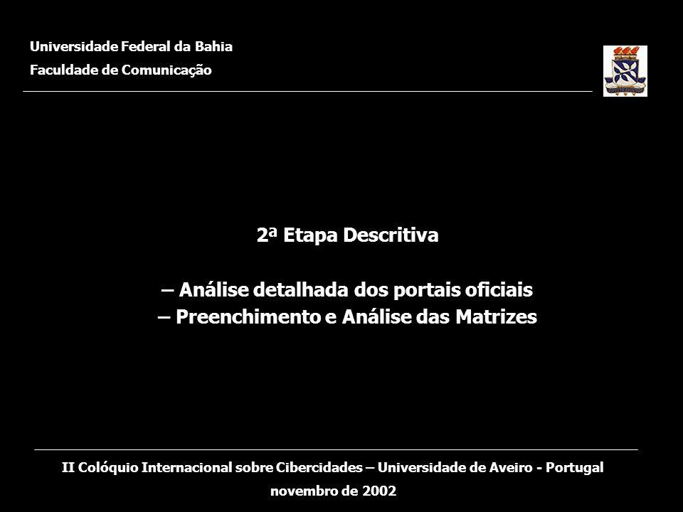 2ª Etapa Descritiva – Análise detalhada dos portais oficiais – Preenchimento e Análise das Matrizes Universidade Federal da Bahia Faculdade de Comunic