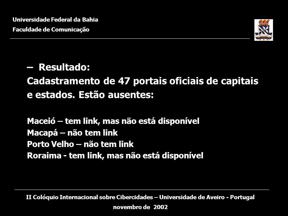 – Resultado: Cadastramento de 47 portais oficiais de capitais e estados. Estão ausentes: Maceió – tem link, mas não está disponível Macapá – não tem l