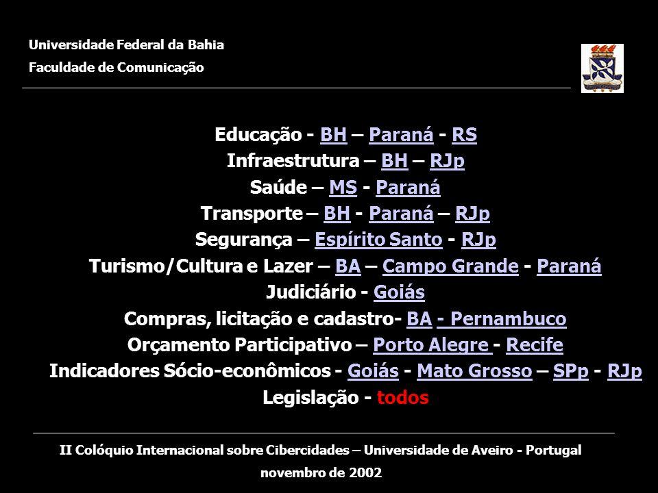 Educação - BH – Paraná - RS Infraestrutura – BH – RJp Saúde – MS - Paraná Transporte – BH - Paraná – RJp Segurança – Espírito Santo - RJp Turismo/Cult