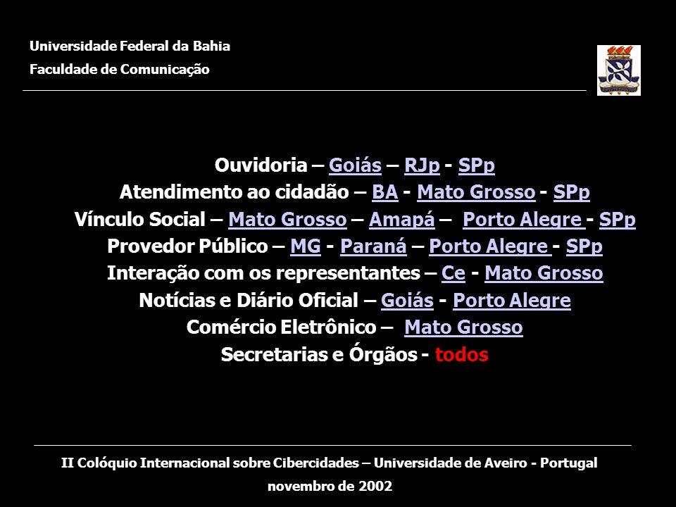 Ouvidoria – Goiás – RJp - SPp Atendimento ao cidadão – BA - Mato Grosso - SPp Vínculo Social – Mato Grosso – Amapá – Porto Alegre - SPp Provedor Públi