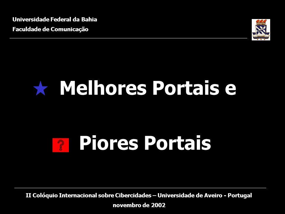 Melhores Portais e Piores Portais Universidade Federal da Bahia Faculdade de Comunicação II Colóquio Internacional sobre Cibercidades – Universidade d