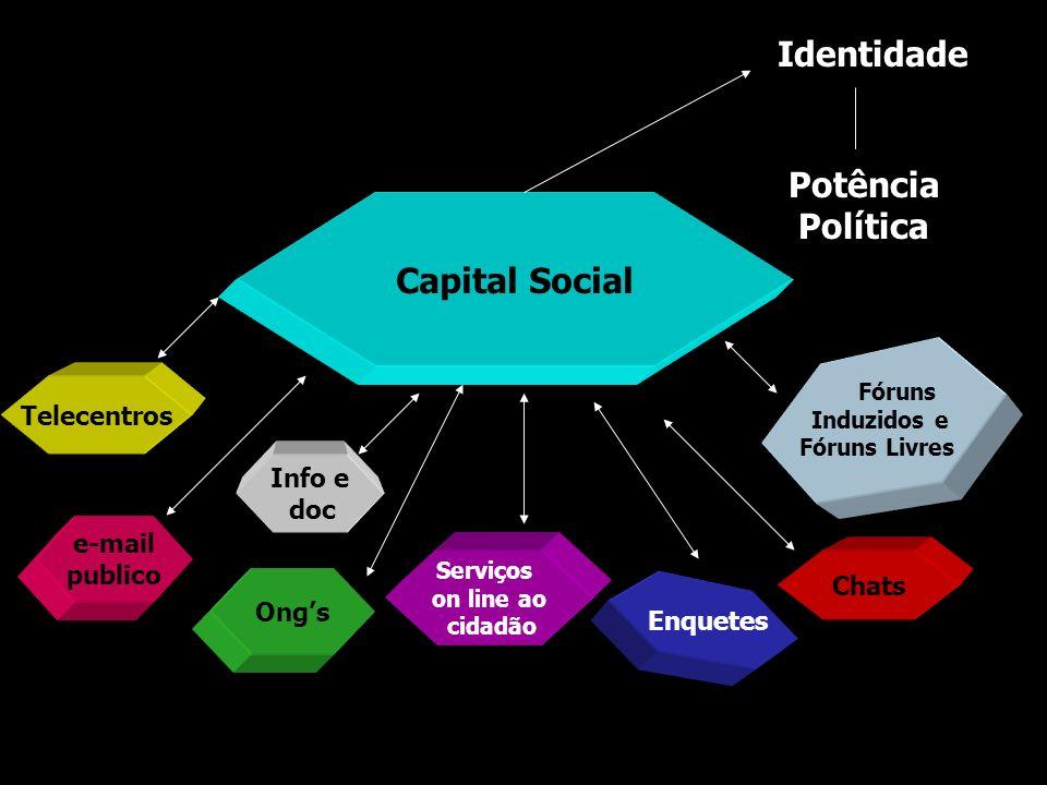Capital Social Serviços on line ao cidadão Ongs e-mail publico Enquetes Chats Telecentros Fóruns Induzidos e Fóruns Livres Info e doc Identidade Potên