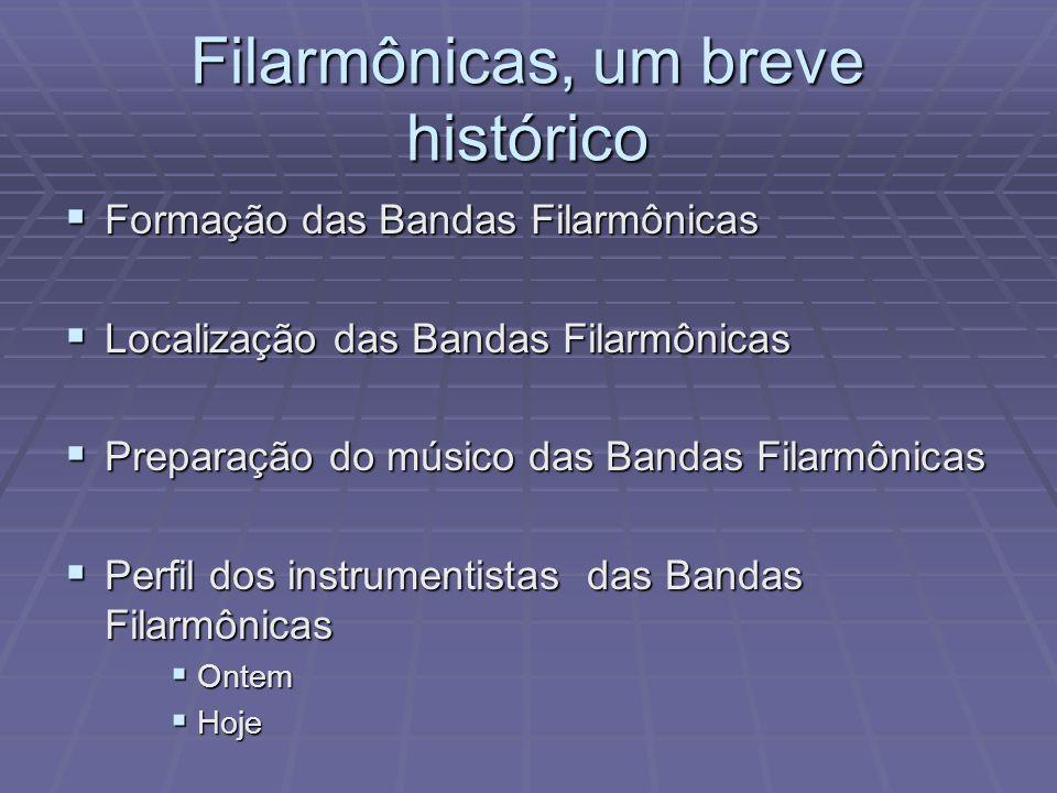 Filarmônicas, um breve histórico Formação das Bandas Filarmônicas Formação das Bandas Filarmônicas Localização das Bandas Filarmônicas Localização das