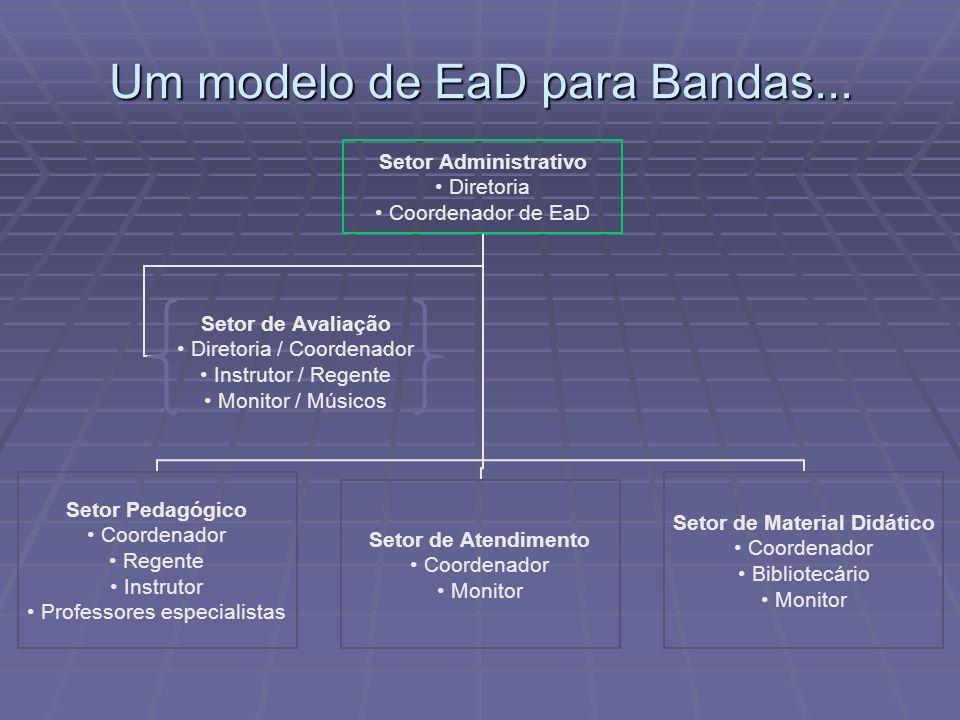 Um modelo de EaD para Bandas... Setor Administrativo Diretoria Coordenador de EaD Setor Pedagógico Coordenador Regente Instrutor Professores especiali