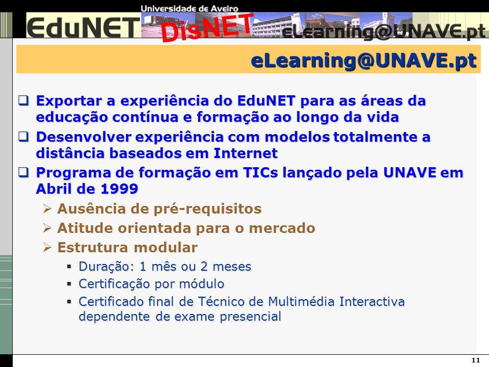 11 DisNET eLearning@UNAVE.pt Exportar a experiência do EduNET para as áreas da educação contínua e formação ao longo da vida Exportar a experiência do