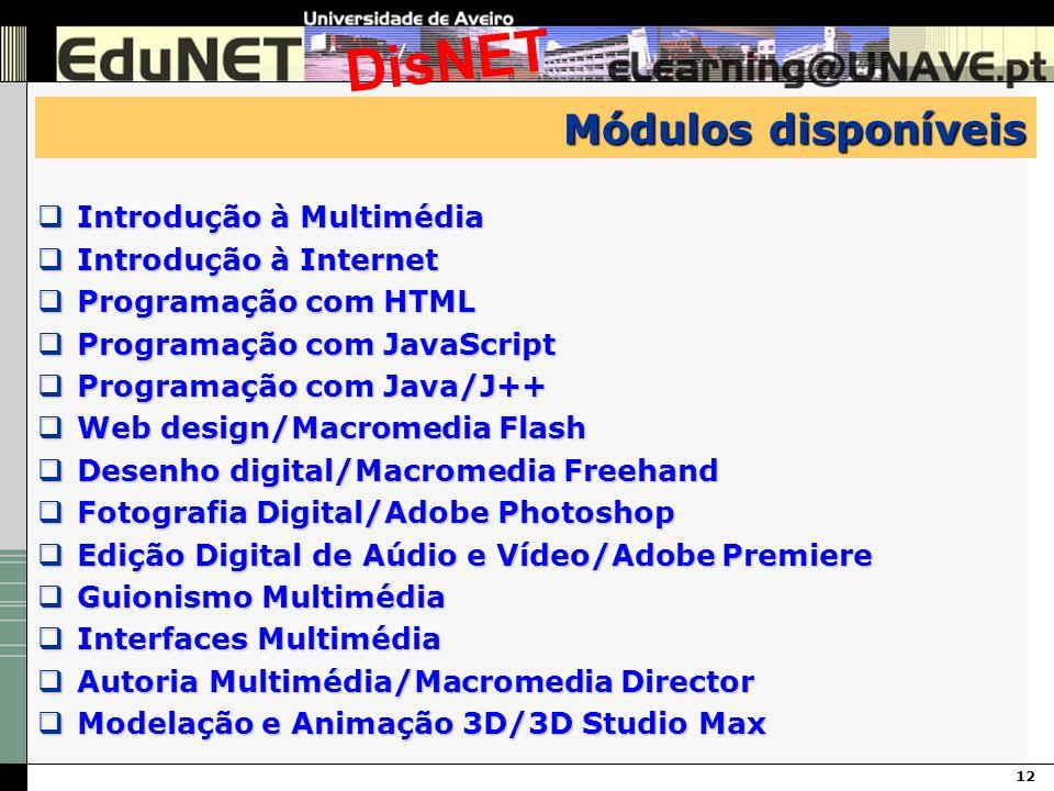 12 DisNET Módulos disponíveis Introdução à Multimédia Introdução à Multimédia Introdução à Internet Introdução à Internet Programação com HTML Program