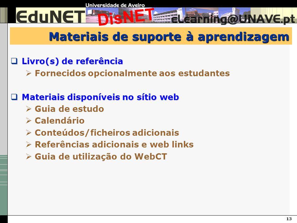 13 DisNET Materiais de suporte à aprendizagem Livro(s) de referência Livro(s) de referência Fornecidos opcionalmente aos estudantes Materiais disponív