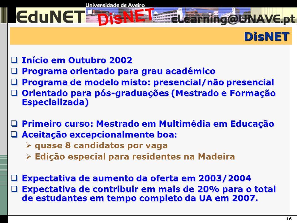 16 DisNET DisNET Início em Outubro 2002 Início em Outubro 2002 Programa orientado para grau académico Programa orientado para grau académico Programa