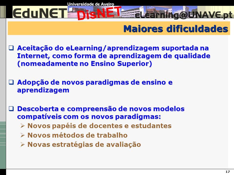 17 DisNET Maiores dificuldades Aceitação do eLearning/aprendizagem suportada na Internet, como forma de aprendizagem de qualidade (nomeadamente no Ens