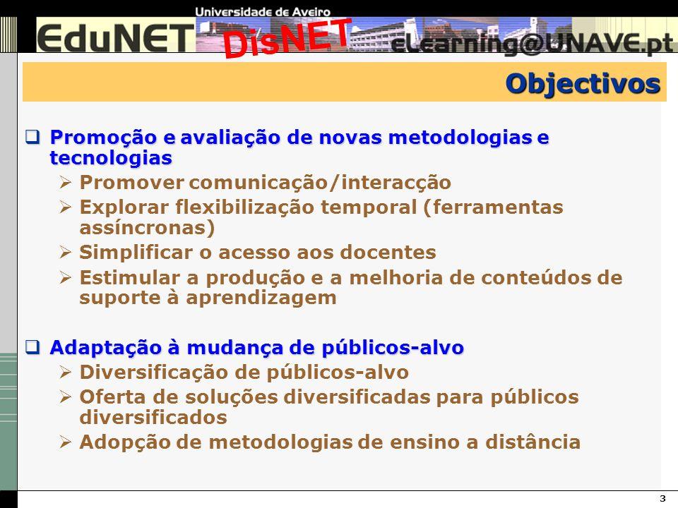 3 DisNET Objectivos Promoção e avaliação de novas metodologias e tecnologias Promoção e avaliação de novas metodologias e tecnologias Promover comunic