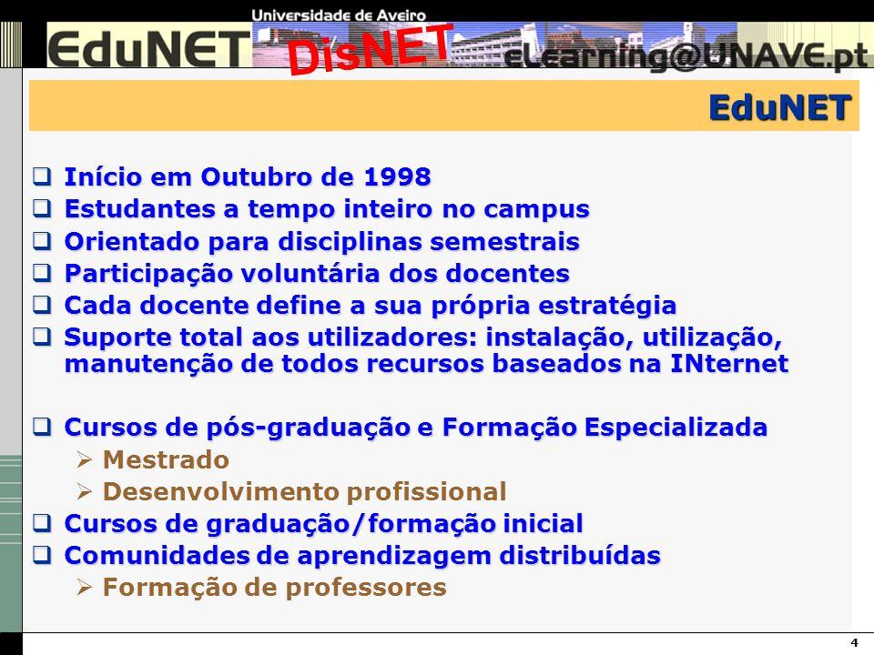 4 DisNET EduNET Início em Outubro de 1998 Início em Outubro de 1998 Estudantes a tempo inteiro no campus Estudantes a tempo inteiro no campus Orientad