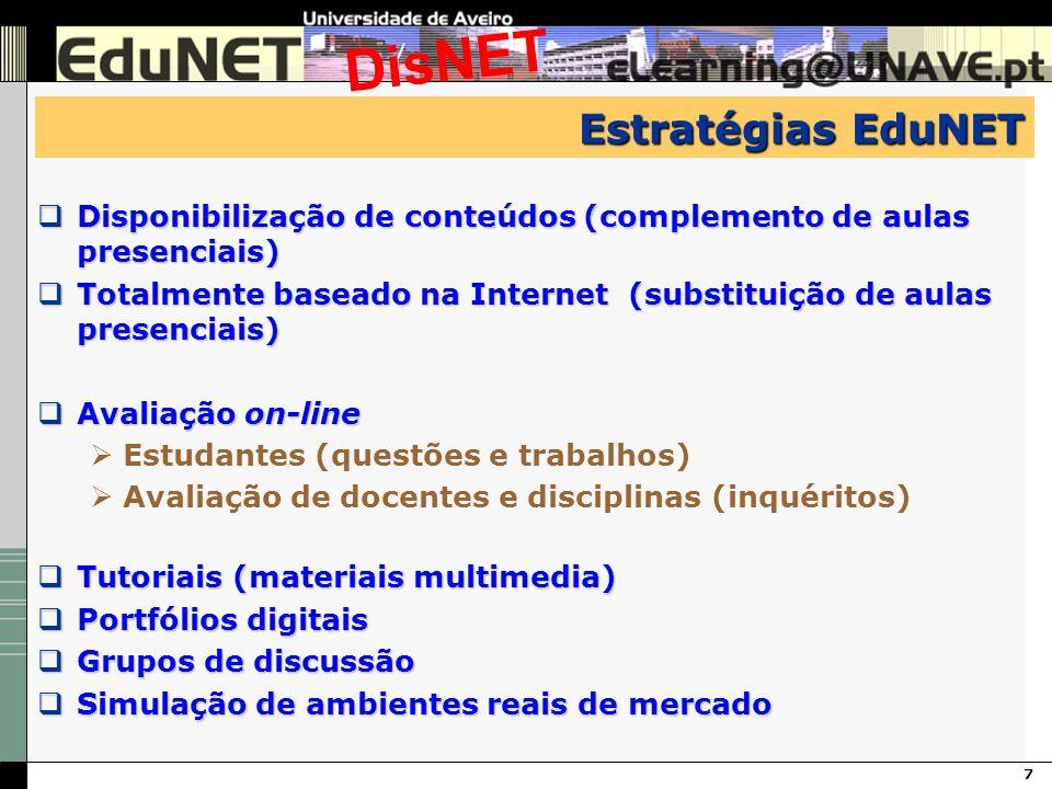 7 DisNET Estratégias EduNET Disponibilização de conteúdos (complemento de aulas presenciais) Disponibilização de conteúdos (complemento de aulas prese