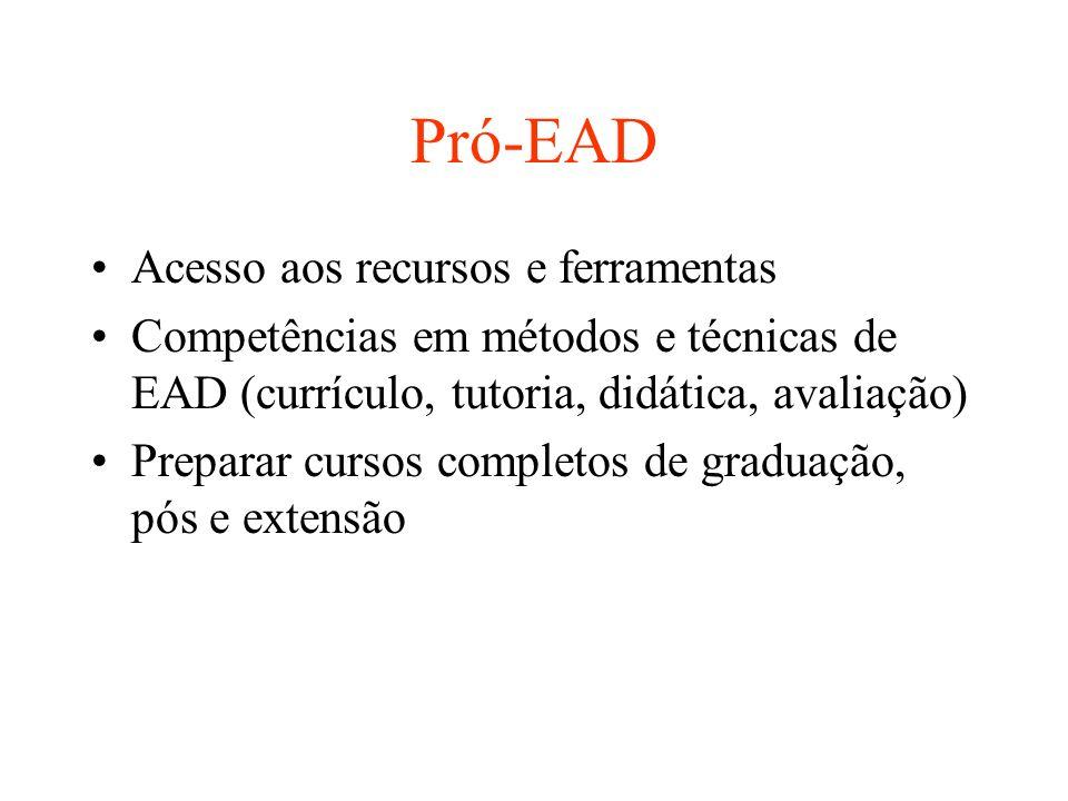 Pró-EAD Acesso aos recursos e ferramentas Competências em métodos e técnicas de EAD (currículo, tutoria, didática, avaliação) Preparar cursos completos de graduação, pós e extensão