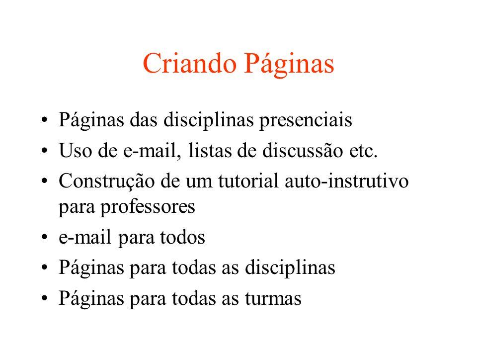 Criando Páginas Páginas das disciplinas presenciais Uso de e-mail, listas de discussão etc. Construção de um tutorial auto-instrutivo para professores