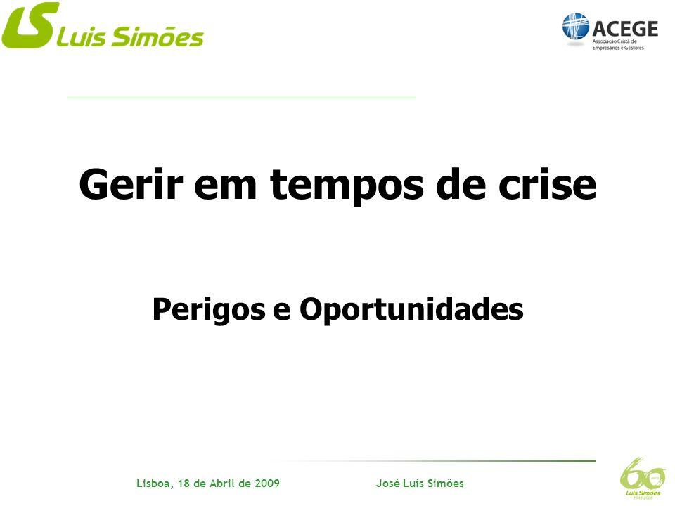 Nome do orador Lisboa, 18 de Abril de 2009 José Luís Simões Anos 90 Irmãos Simões e directivos acreditam no futuro Logística, clientes, qualidade - (diferenciação) Rent-a-car, carroçarias, informática - (diversificação) Formação, estrutura organizacional - (conhecimento) Domínio da cadeia de abastecimento - (persistência) Superar as adversidades - (tenacidade) Assumir as responsabilidades - (ética) Trabalho, trabalho - (trabalho) CRISE - Mercado único de transportes UE