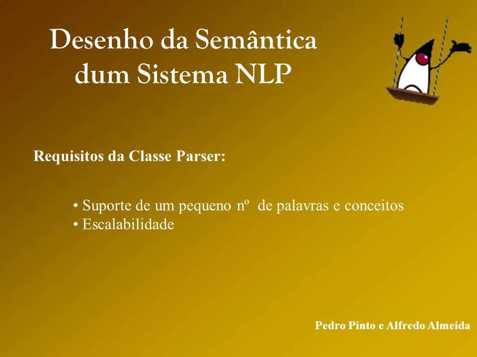 Pedro Pinto e Alfredo Almeida Desenho da Semântica dum Sistema NLP Requisitos da Classe Parser: Suporte de um pequeno nº de palavras e conceitos Escalabilidade