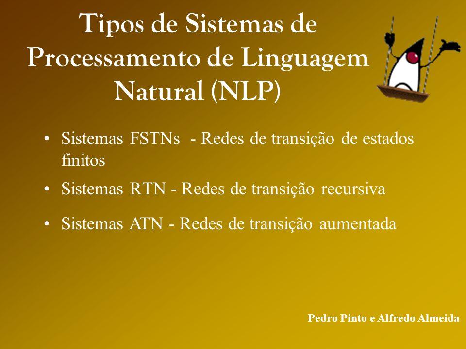 Pedro Pinto e Alfredo Almeida Tipos de Sistemas de Processamento de Linguagem Natural (NLP) Sistemas RTN - Redes de transição recursiva Sistemas FSTNs - Redes de transição de estados finitos Sistemas ATN - Redes de transição aumentada