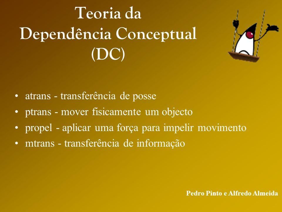 Pedro Pinto e Alfredo Almeida Teoria da Dependência Conceptual (DC) atrans - transferência de posse ptrans - mover fisicamente um objecto propel - aplicar uma força para impelir movimento mtrans - transferência de informação