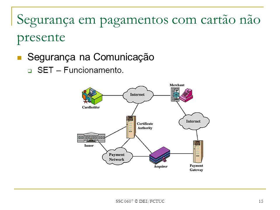 SSC 0607 © DEI/FCTUC 15 Segurança em pagamentos com cartão não presente Segurança na Comunicação SET – Funcionamento.