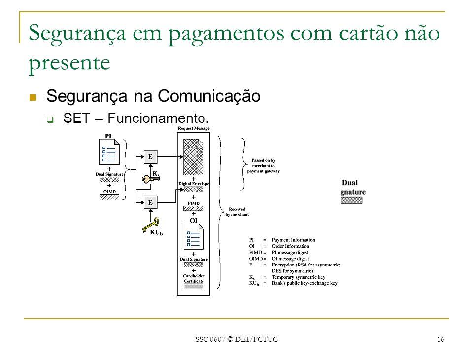 SSC 0607 © DEI/FCTUC 16 Segurança em pagamentos com cartão não presente Segurança na Comunicação SET – Funcionamento.