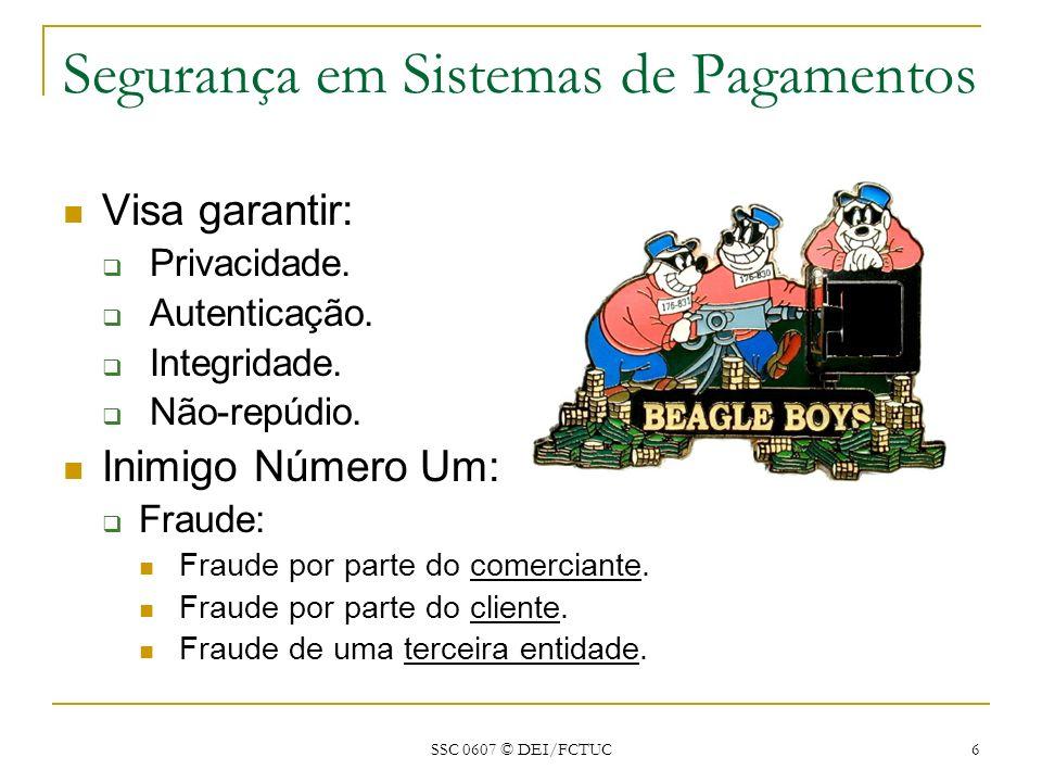SSC 0607 © DEI/FCTUC 6 Segurança em Sistemas de Pagamentos Visa garantir: Privacidade. Autenticação. Integridade. Não-repúdio. Inimigo Número Um: Frau