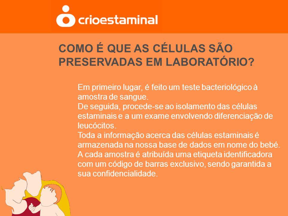 Em primeiro lugar, é feito um teste bacteriológico à amostra de sangue. De seguida, procede-se ao isolamento das células estaminais e a um exame envol