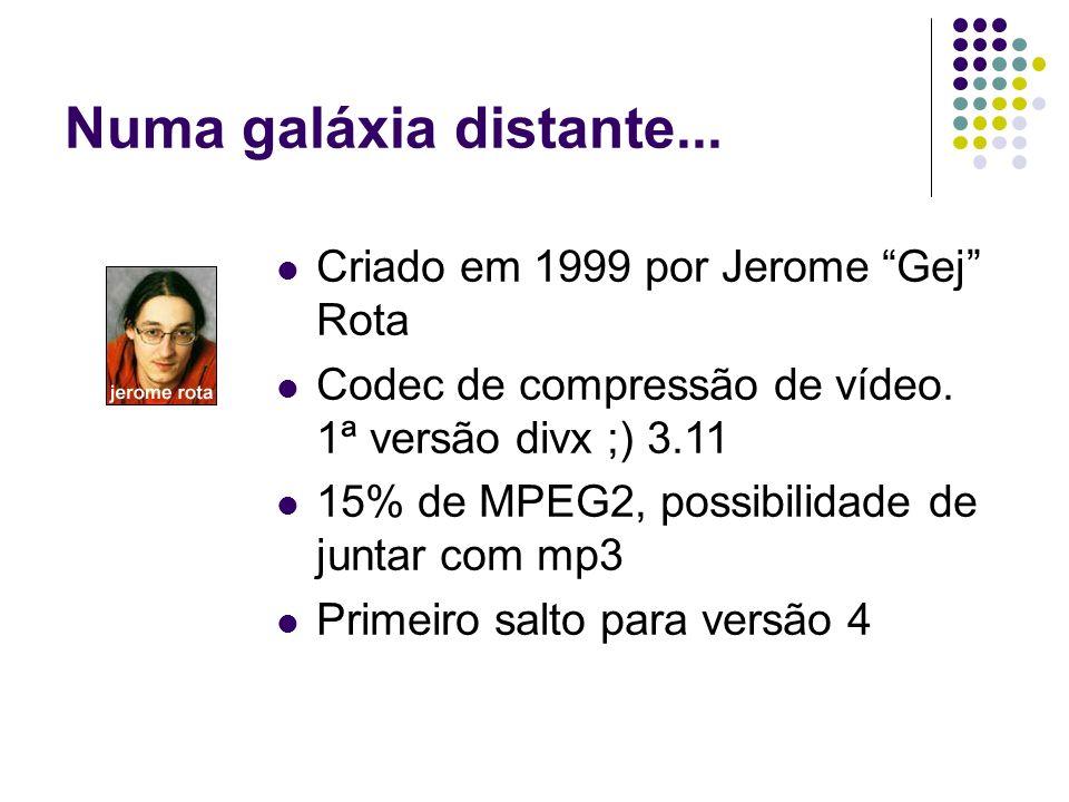 Numa galáxia distante... Criado em 1999 por Jerome Gej Rota Codec de compressão de vídeo.