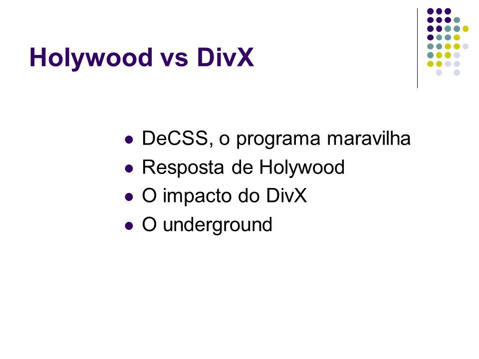 Holywood vs DivX DeCSS, o programa maravilha Resposta de Holywood O impacto do DivX O underground