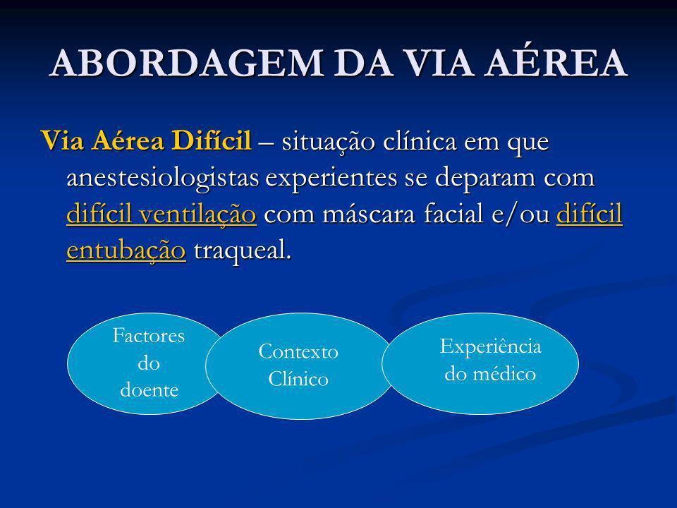 Via Aérea Difícil – situação clínica em que anestesiologistas experientes se deparam com difícil ventilação com máscara facial e/ou difícil entubação