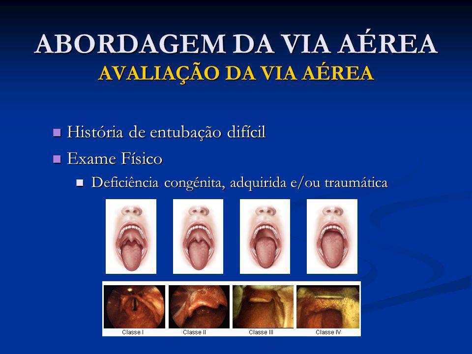 ABORDAGEM DA VIA AÉREA AVALIAÇÃO DA VIA AÉREA História de entubação difícil História de entubação difícil Exame Físico Exame Físico Deficiência congén
