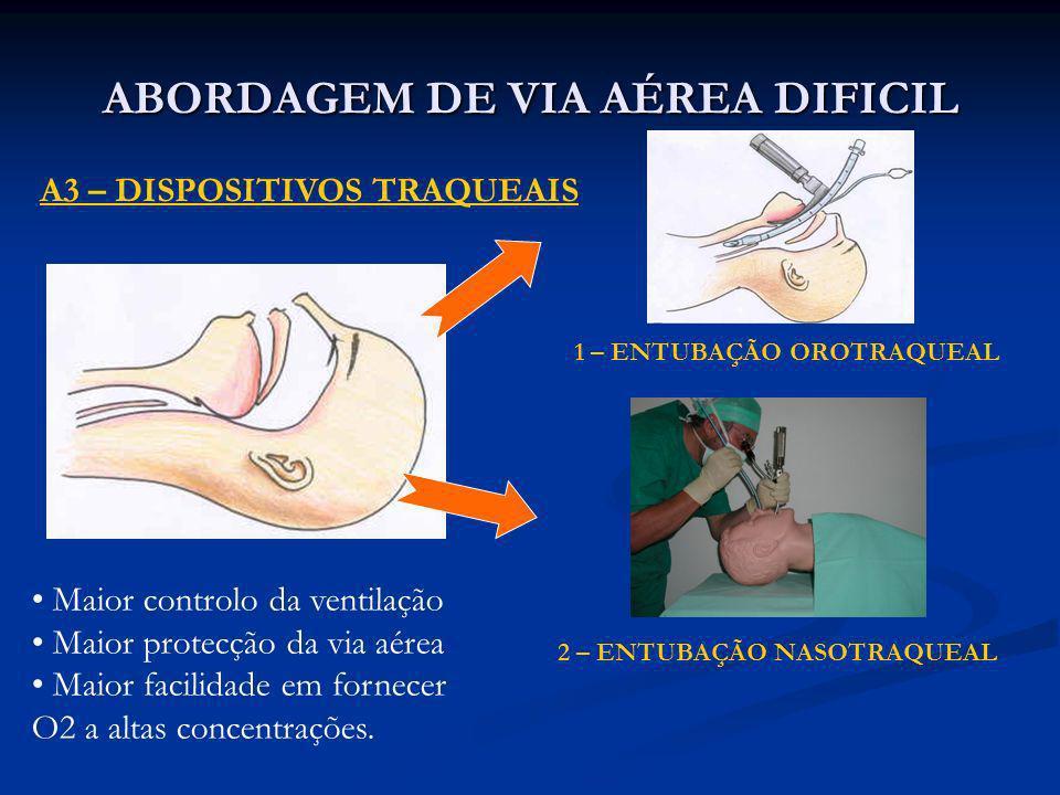 ABORDAGEM DE VIA AÉREA DIFICIL A3 – DISPOSITIVOS TRAQUEAIS 1 – ENTUBAÇÃO OROTRAQUEAL 2 – ENTUBAÇÃO NASOTRAQUEAL Maior controlo da ventilação Maior pro