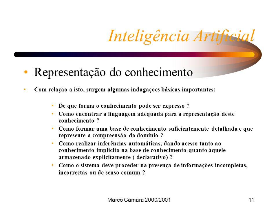 Marco Câmara 2000/200111 Inteligência Artificial Representação do conhecimento Com relação a isto, surgem algumas indagações básicas importantes: De que forma o conhecimento pode ser expresso .